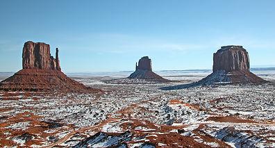 Insolite également, Monument Valley sous la neige fin janvier.