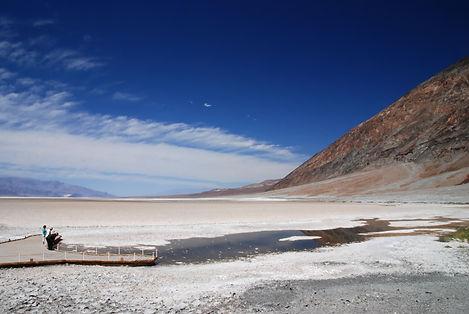 """""""Badwater"""" le point le plus bas de la vallée à 85 mètres sous le niveau de la mer."""