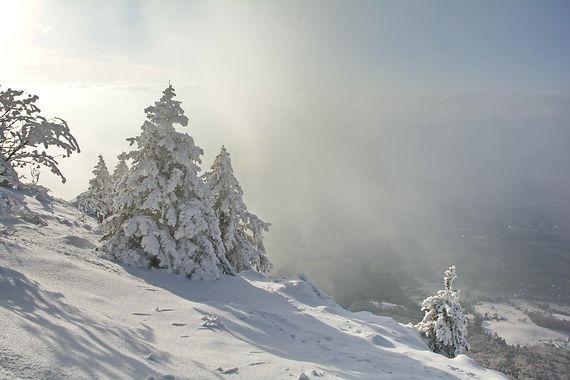 Image d'hiver au Revard en Savoie.