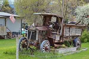 Dans le Montana, camion DAY-ELDER de 1921, 23 ch et roues en bois.