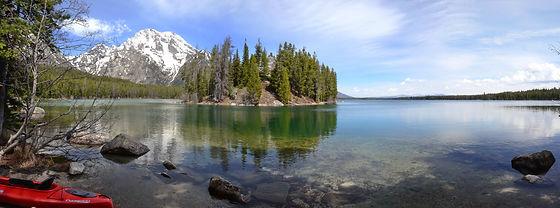 """Le """"Mont Moran"""" 3842 m s'élève au dessus de """"Leigh Lake""""."""