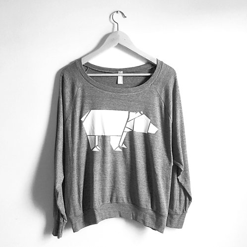 Origami Bear Women's Pullover, size Large