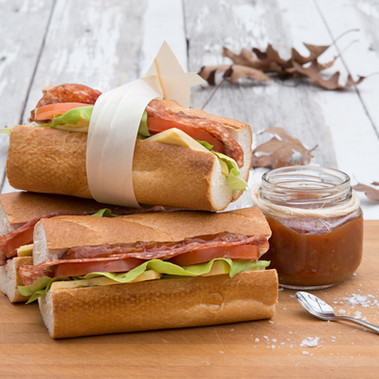 Salami & Cheddar Baguette with Tomato Relish