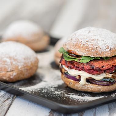 Chickpea & Beetroot Veggie Burger