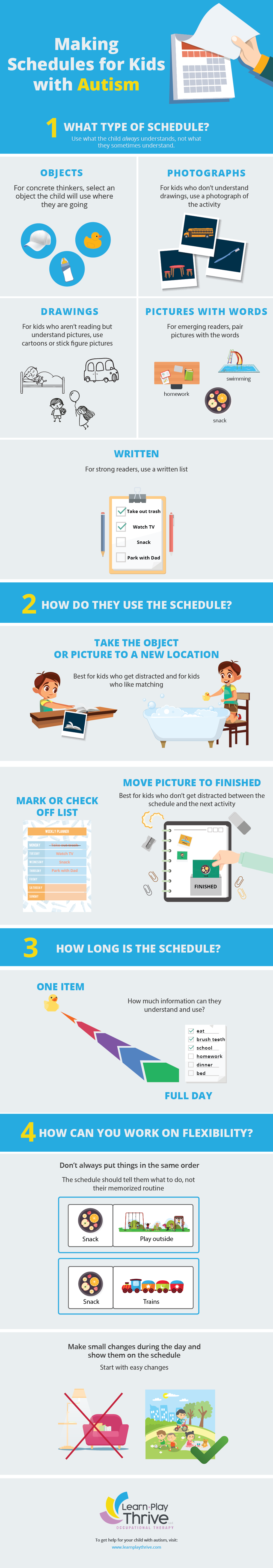 Making schedules for kids with autism infographic