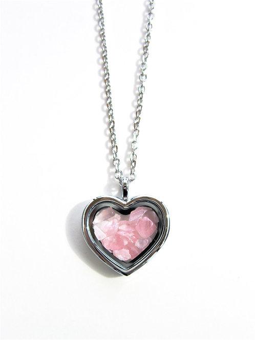 Rose Quartz Heart Locket Necklace