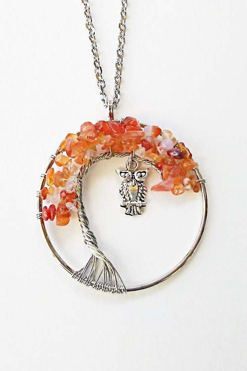Carnelian Tree Of Life Owl Necklace