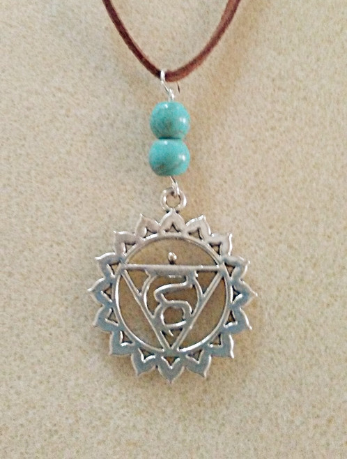 Natural turquoise throat chakra symbol necklace handmade new age throat chakra pendant aloadofball Gallery