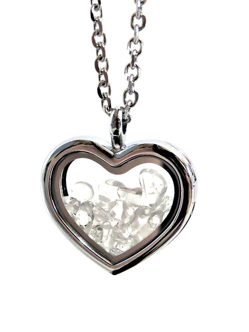 Clear Quartz Heart Locket Necklace