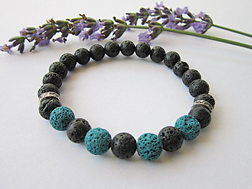 Lava Rock Essential Oil Diffusser Bracelet (TEAL)