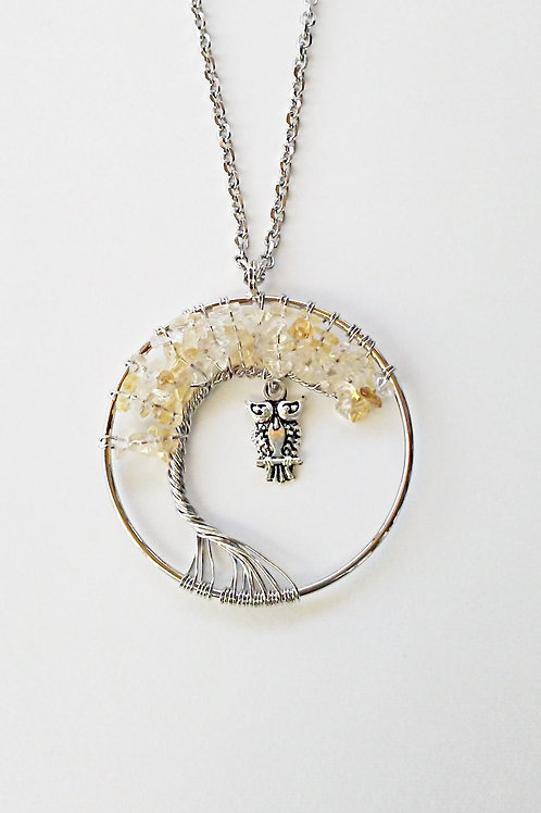 Citrine Tree Of Life Owl Necklace