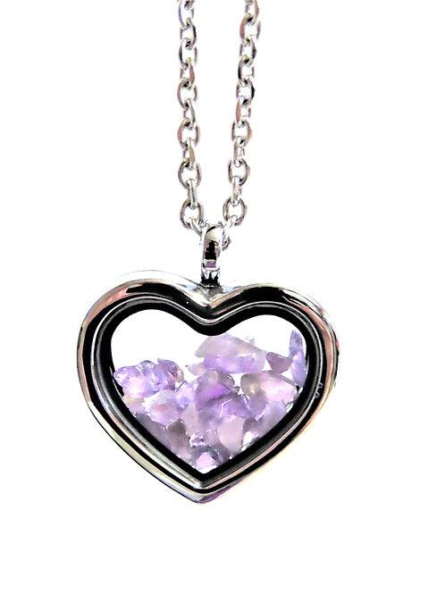 Amethyst Heart Locket Necklace