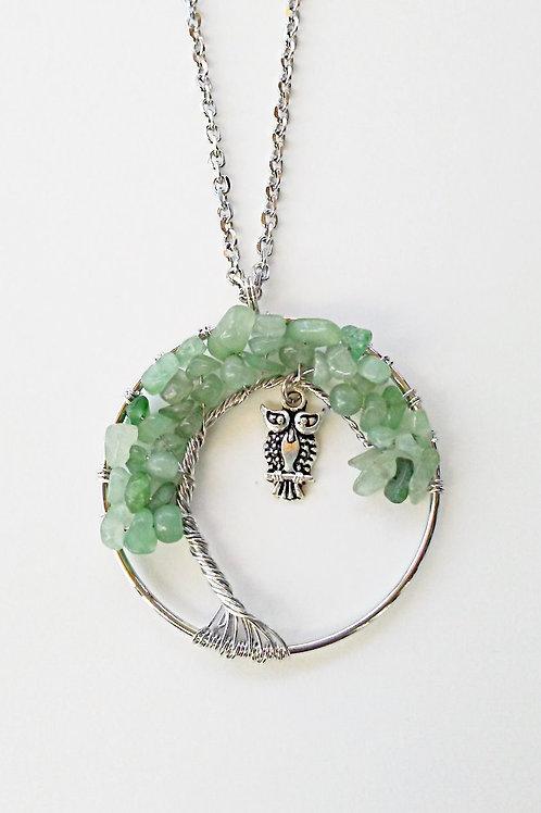 Green Aventurine Tree Of Life Owl Necklace