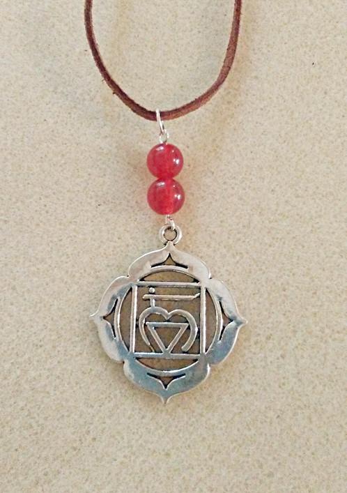 Natural Ruby Root Chakra Symbol Necklace