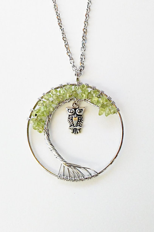 Peridot Tree Of Life Owl Necklace