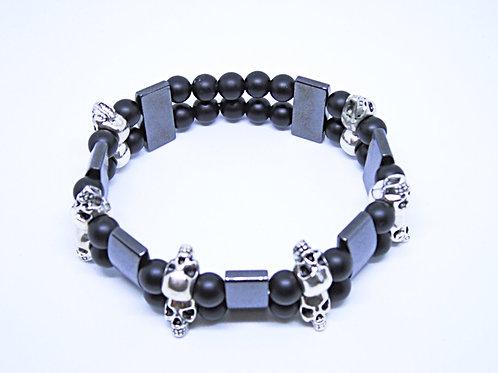 Skull Bracelet - Natural Black Onyx and Hematite