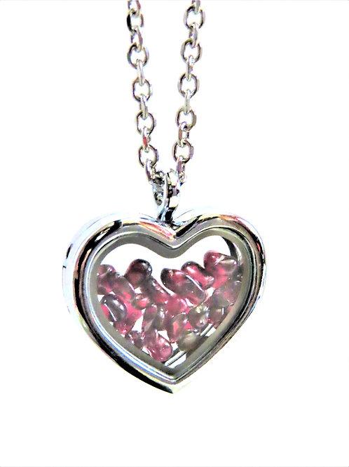 Garnet Heart Locket Necklace