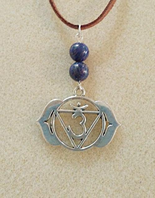 Natural Lapis Lazuli Third Eye Chakra Symbol Necklace The Charmed