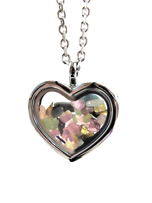Tourmaline Heart Locket Necklace
