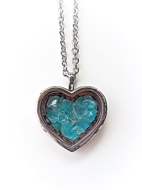 Blue Topaz Heart Locket Necklace