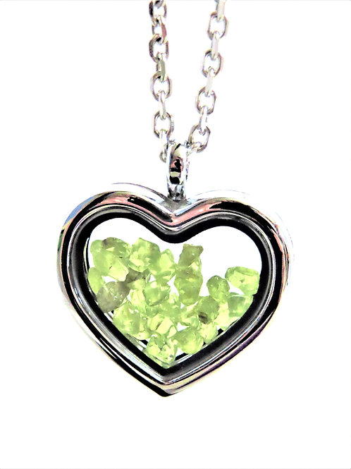 Peridot Heart Locket Necklace