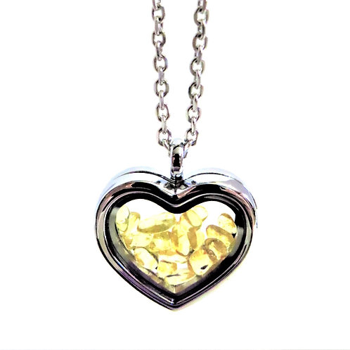 Citrine Heart Locket Necklace