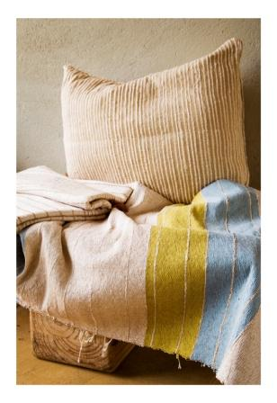 Stripped cotton throw and cushion