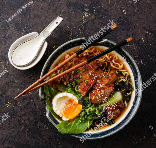 stock-photo-duck-noodles-with-egg-and-pa