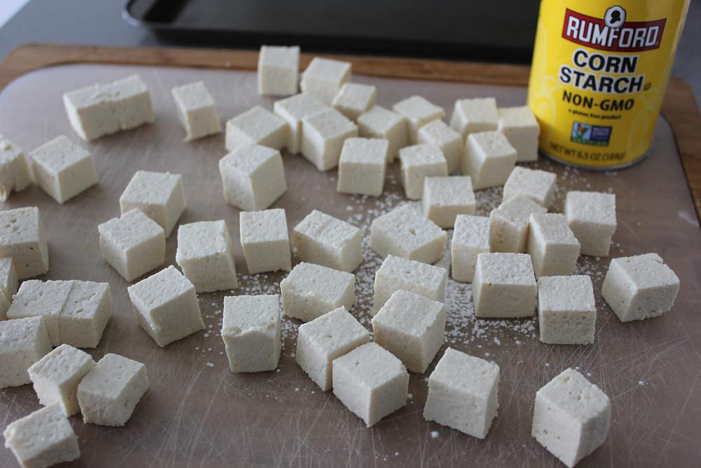 Tofu dusted in Cornstarch