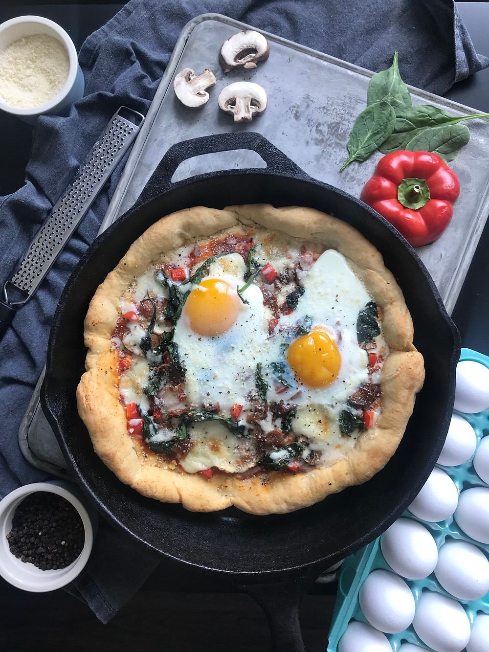 picture of a breakfast pizza with homemade dough