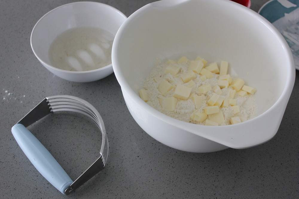 All the ingredients for pie crust