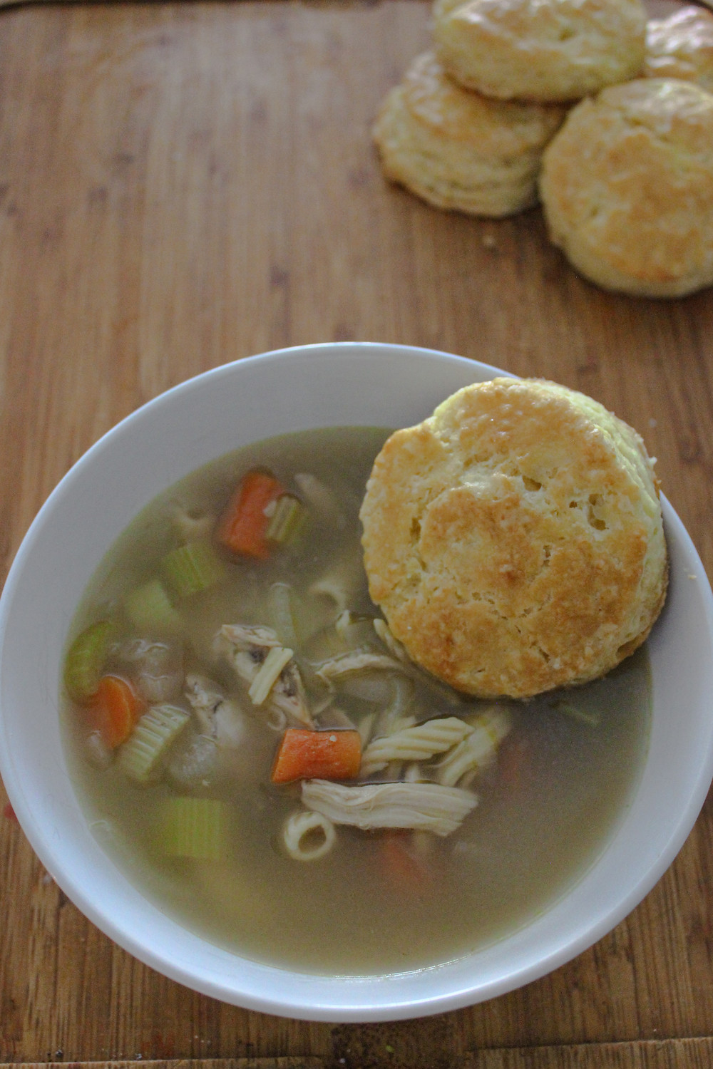 Chicken noodle soup and biscuit