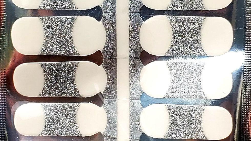 Silver french tips mini Nail Polish Strips
