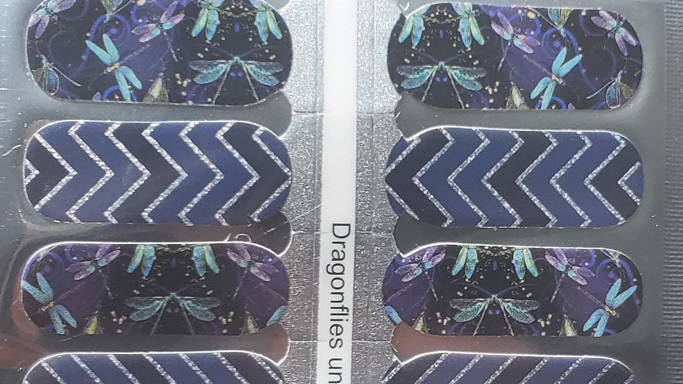 Dragonflies  under the moon - Nail Polish strips