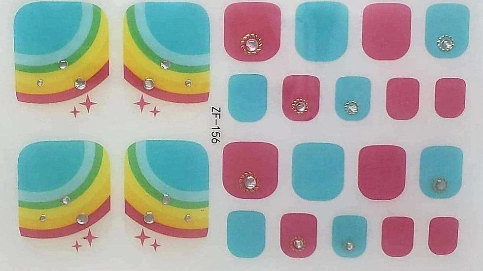 cyan and rainbow toes
