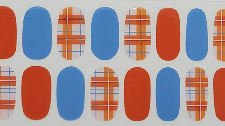 Orange and Blue  Plaid