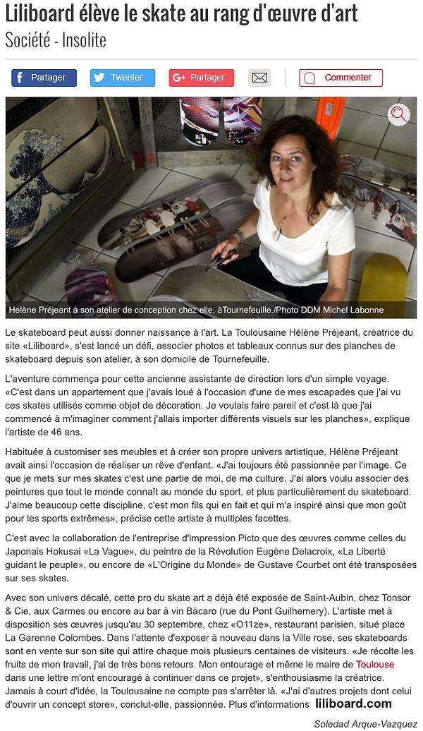 Liliboard Skate art ladepeche.fr