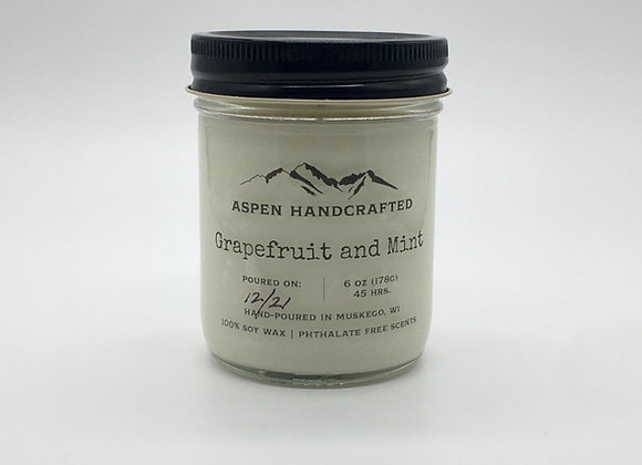 Grapefruit and Mint - 6oz. Soy Candle