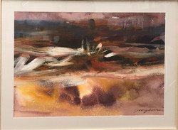 "National parks, the Badlands, 36x48"" oil on paper"