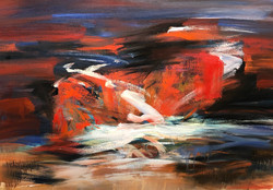 """Abstract Series The Bad lands 30x42"""" oil on paper"""