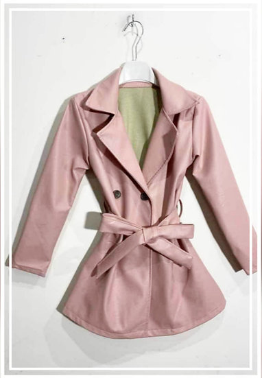 Trench simili cuir rose 4 ans