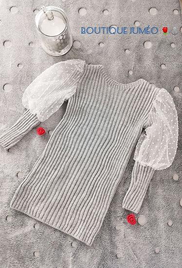 Robe pull avec manches bouffantes