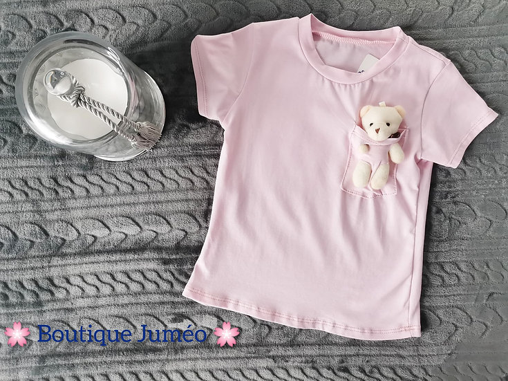 T-shirt rose ourson