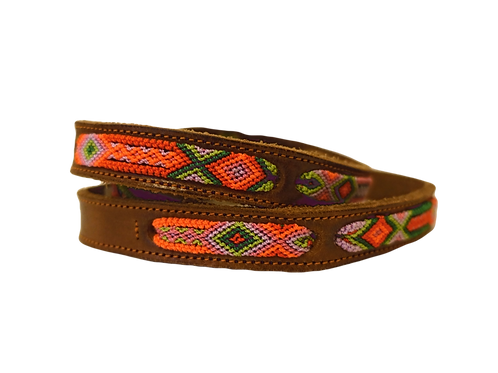 Brown leather with Orange & Green