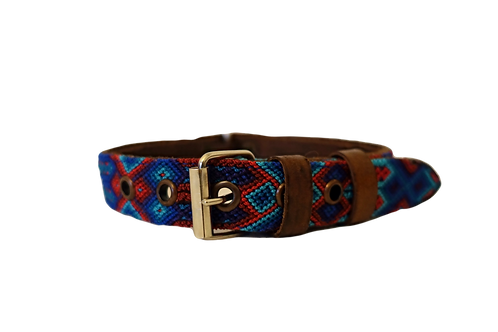 Brown leather with Blue and Red