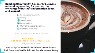 You are Invited: Building Community: A monthly business networking meeting focused on the exchange of business information, ideas, and support