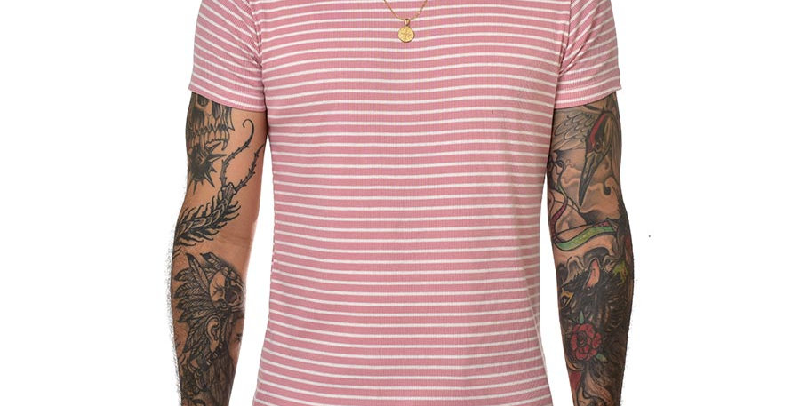 Camiseta striped rosa slim fit