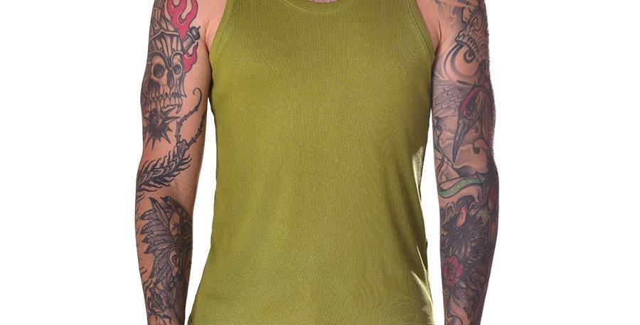 Tank top verde slim fit
