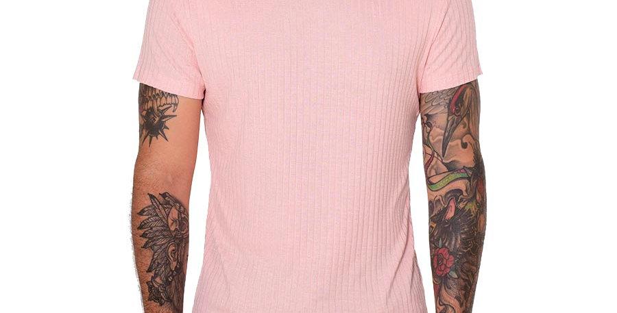 Camiseta cuello tortuga slim rosa