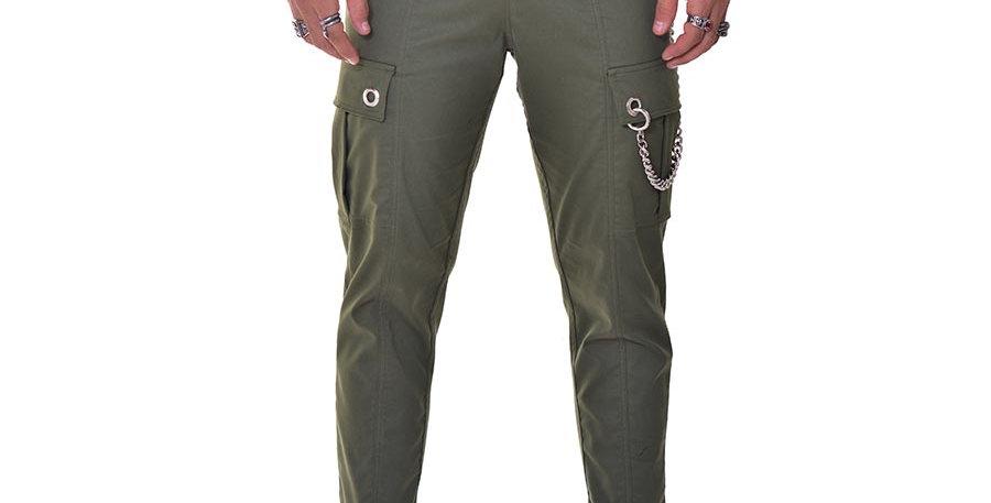 Pantalon cargo verde army en dril